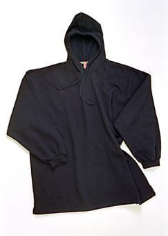 Kaputzensweatshirt schwarz ohne Saumbündchen