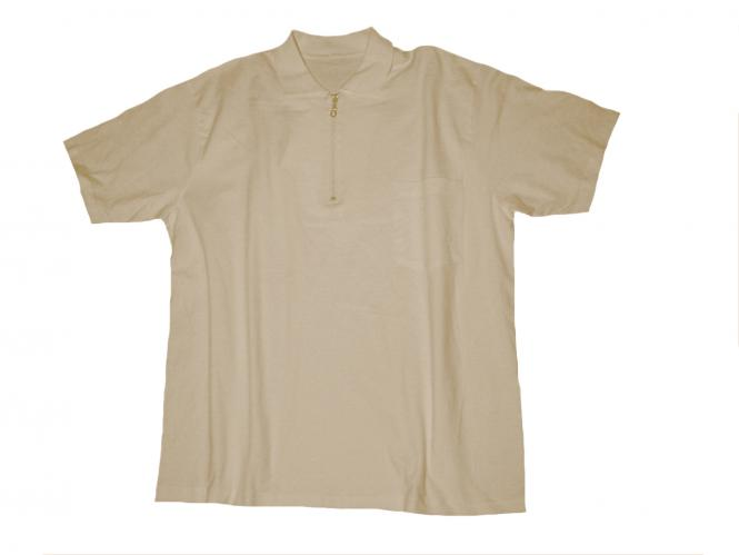 Polo T-Shirt m. Zip u. Tasche sand