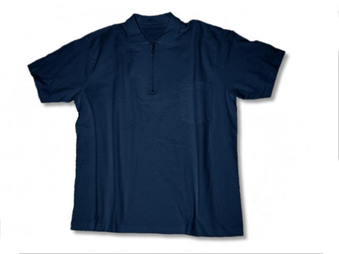 Polo T-Shirt m. Zip u. Tasche marine
